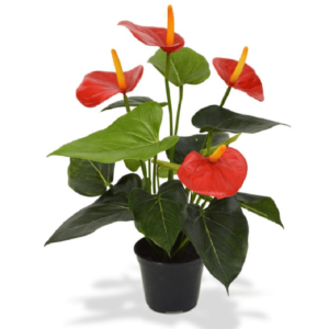 Floare artificiala Anthurium rosu tufa 40cm