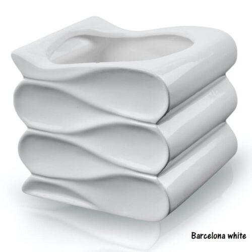 Ghiveci Barcelona valuri alb glossy 3