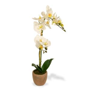 Orhidee decorativa alba ghiveci natur 50cm