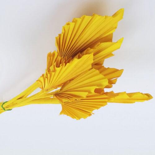 PU Frunza palmier mini Galben set 10 buc